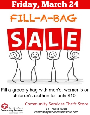 Fill-A-Bag Sale Community Services Thrift Store March 24