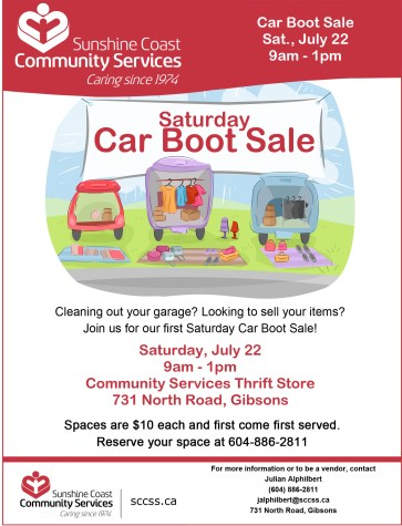 July 22 Thrift Store Care Boot Sale Community Services