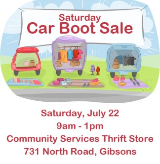Saturday Car Boot Sale - July 22 - Communnity Services Thrift Store