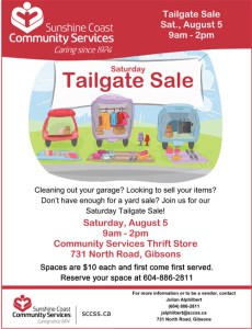 August 5 Tailgate Sale Community Services Thrift Store